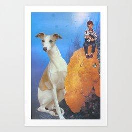 Boy and Dog Art Print