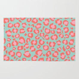 Coral  Leopard Print on Blue background | Living Coral design Rug