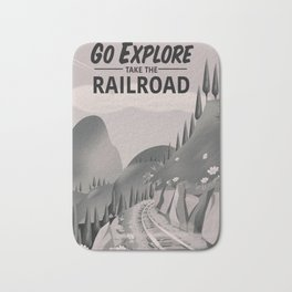 Take the Railroad ( black and white ) Bath Mat