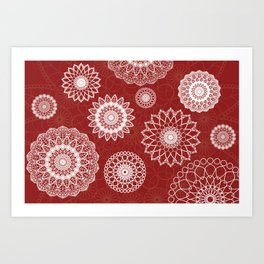 White mandala background red color Art Print