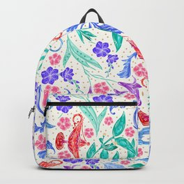 Sophisticated Floral Pattern With Magic Genie Lanterns Backpack