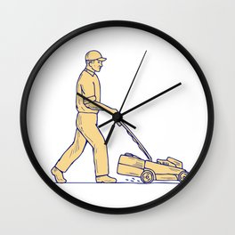 Gardener Mowing Lawnmower Drawing Wall Clock