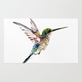 Hummingbird, bird art minimalist bird design hummingbird lover Rug