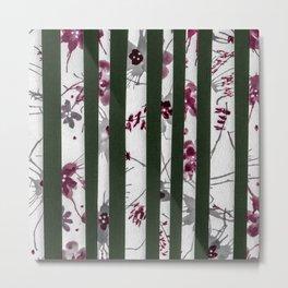 Dark Green & Floral Watercolor Stripe Pattern Metal Print