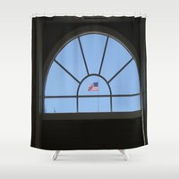 american flag Shower Curtains featuring American Flag by KendraH