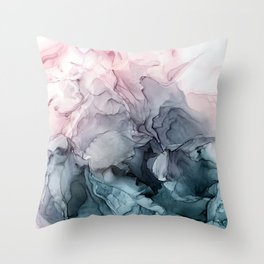 Blush and Paynes Gray Flowing Abstract Reflect Throw Pillow