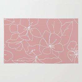 Floral Drawing on Pale Pink Rug