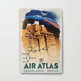 Air Atlas Casablanca Maroc Vintage Travel Poster Metal Print
