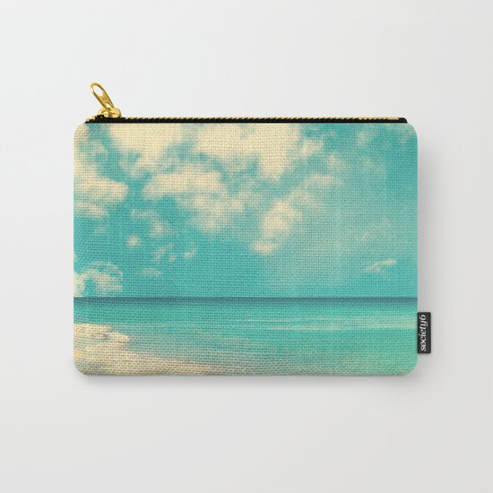 Waves of the sea (retro beach and blue sky) Carry-All Pouch