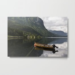 Silent sea with boat Metal Print