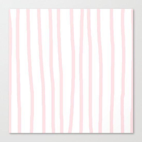 Simply Drawn Vertical Stripes in Flamingo Pink Canvas Print