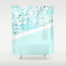 Aqua Splatter - Diagonal Shower Curtain