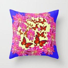 Blue & Yellow Butterflies  Pink Flowers Pattern Art Throw Pillow