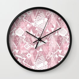 Abstract ethnic pattern in dusky pink, white colors. Wall Clock