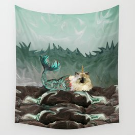 Behold the Mythical Merkitticorn - Mermaid Kitty Cat Unicorn Wall Tapestry