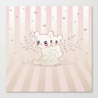 kawaii Canvas Prints featuring Kawaii by Lily Art