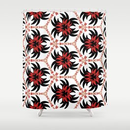 Frantic from the Black & White & Red All Over Collection Shower Curtain