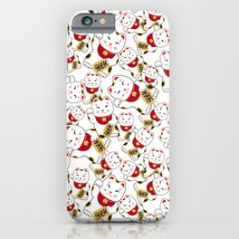Good luck cat pattern/ red Maneki-neko iPhone Case