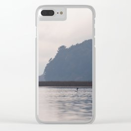 Lonely black-necked swan Clear iPhone Case