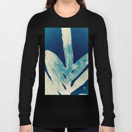 Green Fern at Midnight Bright, Navy Blue Long Sleeve T-shirt