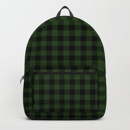 Dark Forest Green and Black Gingham Checkcom Backpack
