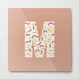 Light Swish Shapes Initial Monogram Letter M Metal Print