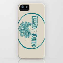 Village Green Bookstore Green on Tan iPhone Case