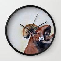 ram Wall Clocks featuring Ram  by Woolpecula