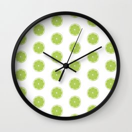 Lime Slice Print and Pattern Wall Clock