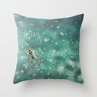 knitting Throw Pillows featuring Christmas knitting by SensualPatterns