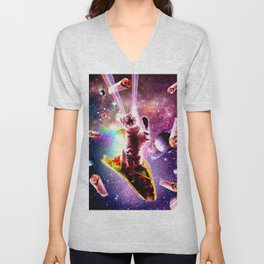 Outer Space Taco Cat - Rainbow Laser Eyes, Burrito Unisex V-Neck