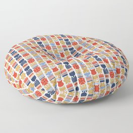 Nordic Flower Pattern in Blue, Red, Yellow Floor Pillow