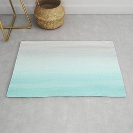 Touching Aqua Blue Gray Watercolor Abstract #1 #painting #decor #art #society6 Rug