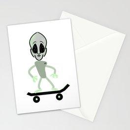 Alien on a Skateboard Stationery Cards