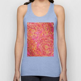 Hot Pink and Gold Baroque Floral Pattern Unisex Tank Top
