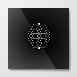 Mesh Geometry Black Metal Print