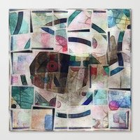kandinsky Canvas Prints featuring whale in reassembled Kandinsky by Osome Beamer