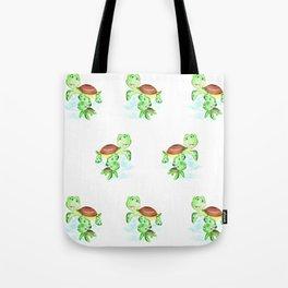 turtle baby and mom, nautical wall decor, ocean themed nursery, sea turtle, sea animals watercolor Tote Bag
