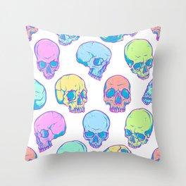 Colored skulls Throw Pillow