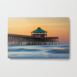 Folly Pier Sunrise Metal Print