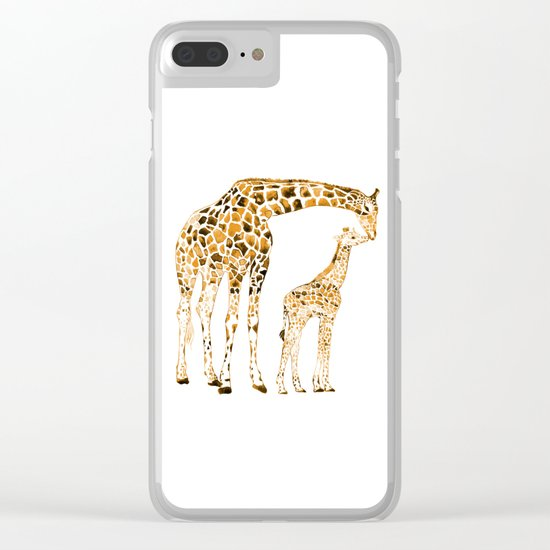 family girrafes, watercolor Clear iPhone Case