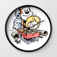 hobbes Wall Clocks featuring Not the Droids! by Billy Allison