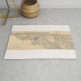 Vintage 1915 Los Angeles Area Map Rug