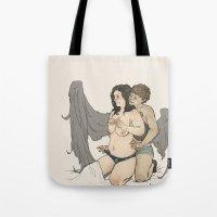 destiel Tote Bags featuring fem!destiel by Cesca Summers
