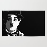 charlie chaplin Area & Throw Rugs featuring Charlie by DRMdesign