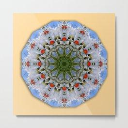 Flower Mandala, Red Poppies Metal Print