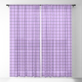 Lilac with Black Grid Sheer Curtain