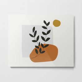 Mid Century Abstract - Sun and Leaves Metal Print
