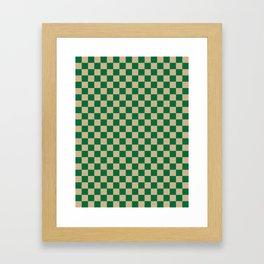 Tan Brown and Cadmium Green Checkerboard Framed Art Print