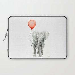 Baby Elephant Watercolor Red Balloon Nursery Decor Laptop Sleeve
